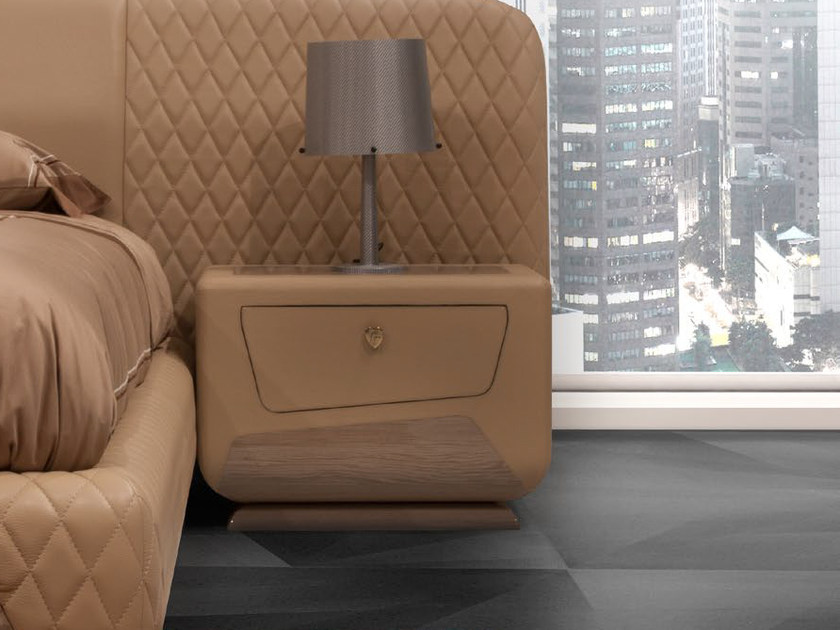 Rectangular leather bedside table with drawer KYALAMI | Bedside table by Tonino Lamborghini Casa