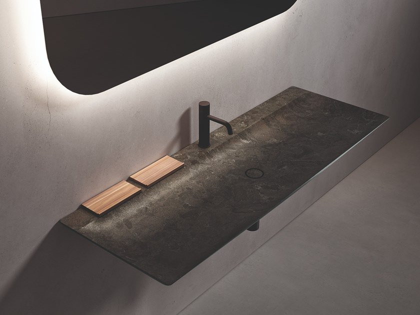 Rectangular single wall-mounted marble washbasin L 14 by Boffi
