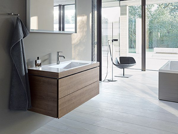 Sectional wall-mounted vanity unit with drawers L-CUBE - VERO AIR C-BONDED | Vanity unit by Duravit