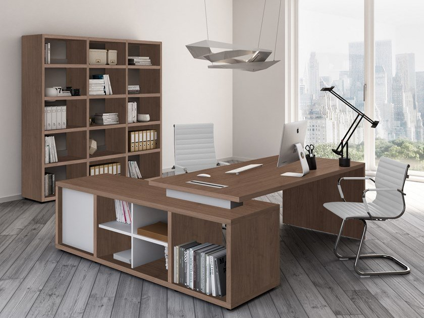 L-shaped office desk with shelves BRERA | L-shaped office desk by CUF Milano