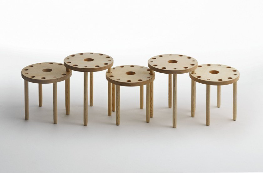Wooden stool / coffee table L09 by LIGHTSON