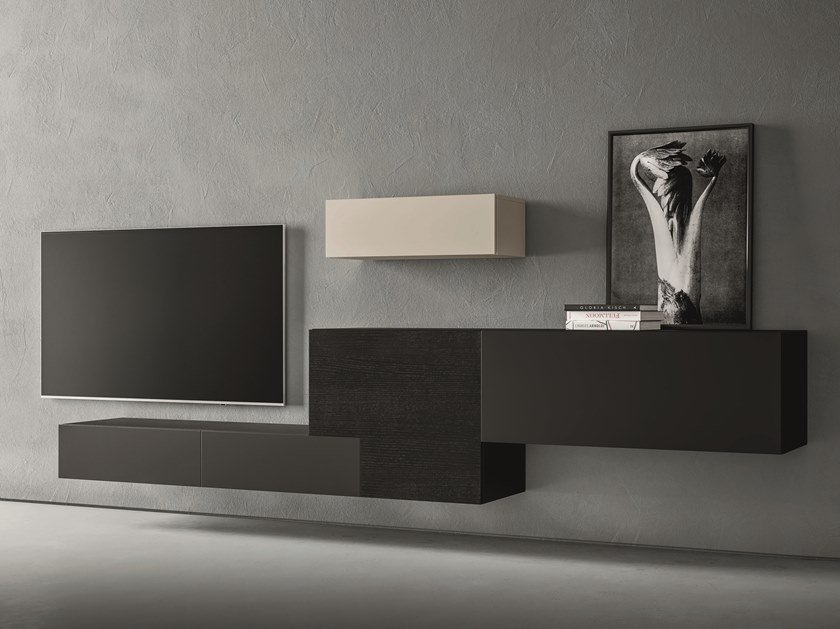 Sectional lacquered storage wall LEI | Composition L605 by ZANETTE