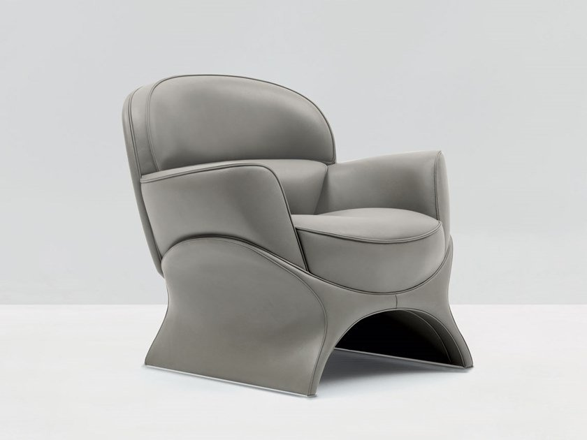 Leather armchair with armrests LA GOCCIA | Armchair by Mascheroni
