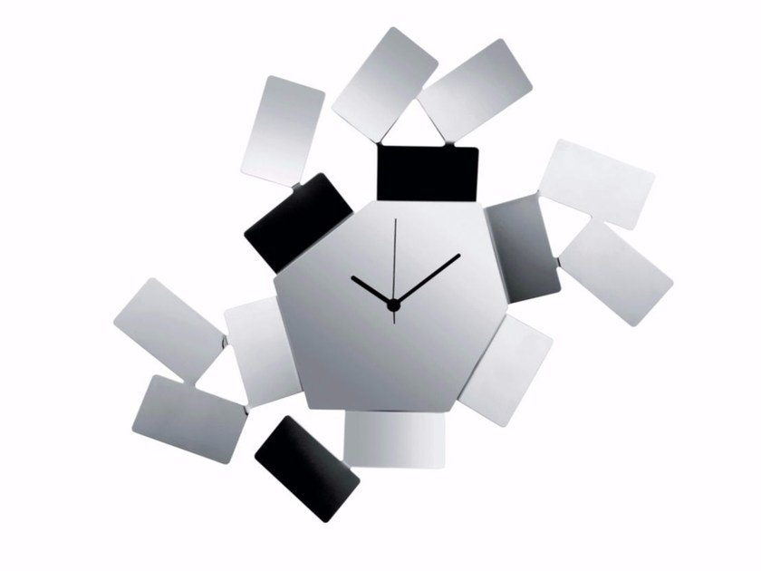 Wall-mounted stainless steel clock LA STANZA DELLO SCIROCCO | Stainless steel clock by Alessi