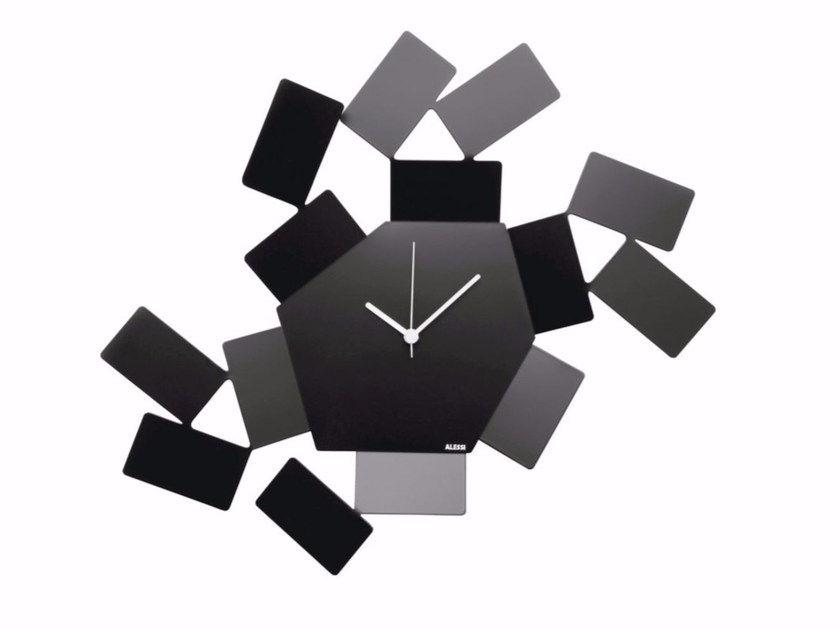 Wall-mounted powder coated steel clock LA STANZA DELLO SCIROCCO | Steel clock by Alessi