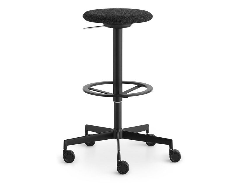 Height-adjustable fabric stool with castors LAB | High stool by Lapalma