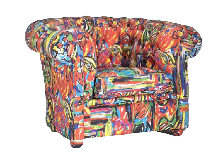 Upholstered fabric armchair with armrests LABIRINTO by Mirabili