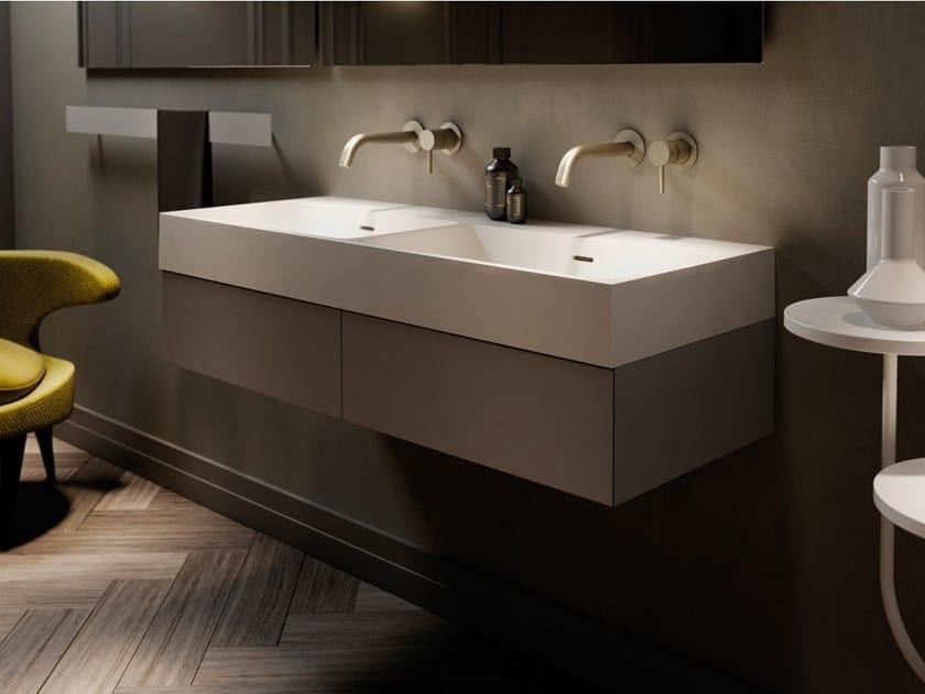 Double rectangular Solid Surface washbasin LABO   Double washbasin by INBANI