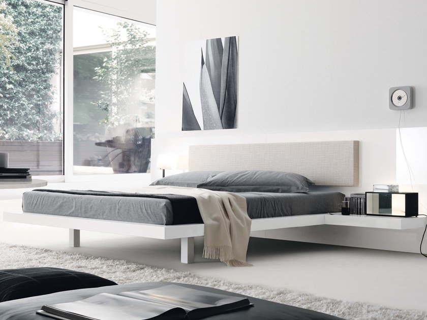 Lacquered double bed with integrated nightstands ALA   Lacquered bed by JESSE