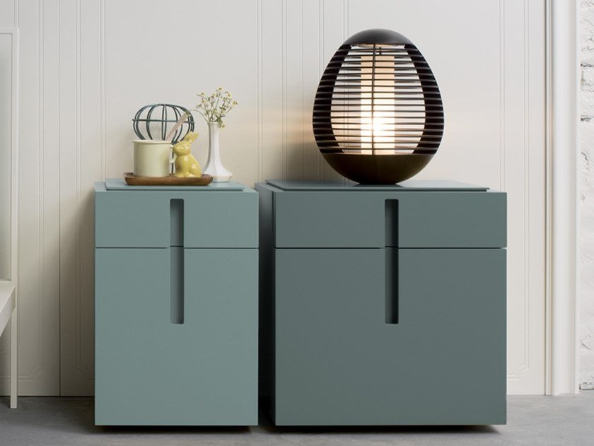 Bedside table with drawers ENTERPRISE   Lacquered bedside table by Capo d'Opera