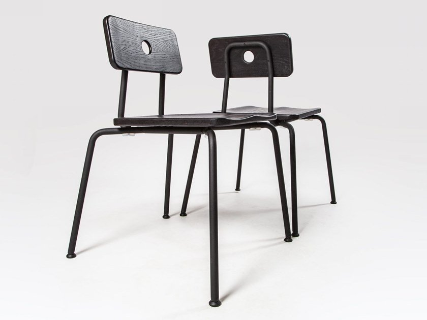 Stackable lacquered steel and wood chair MILNE | Lacquered chair by Liqui Contracts