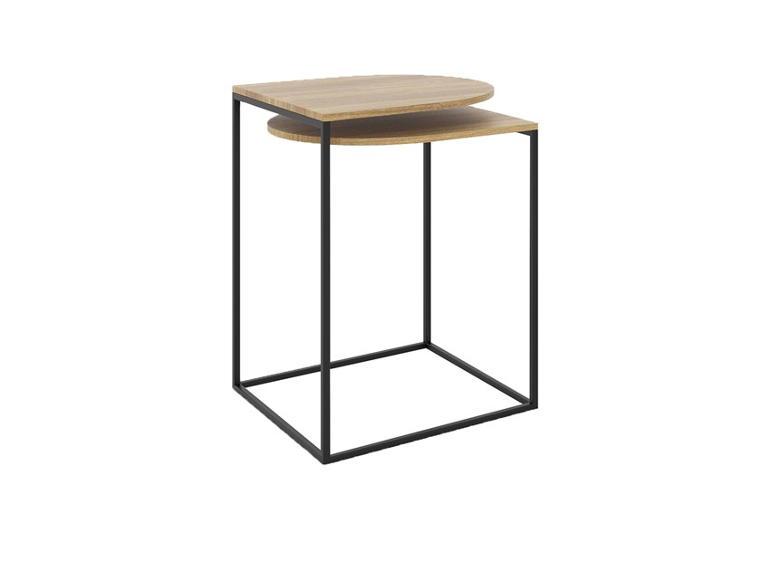 Steel and wood high side table with integrated magazine rack GAP | Coffee table by take me HOME