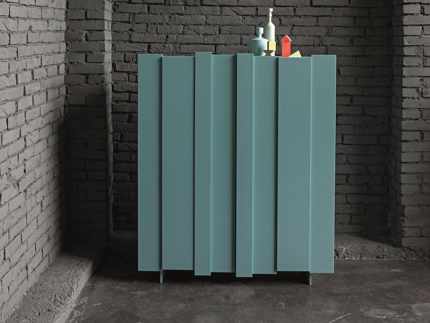 Lacquered highboard with doors STRIPE | Lacquered highboard by Dall'Agnese