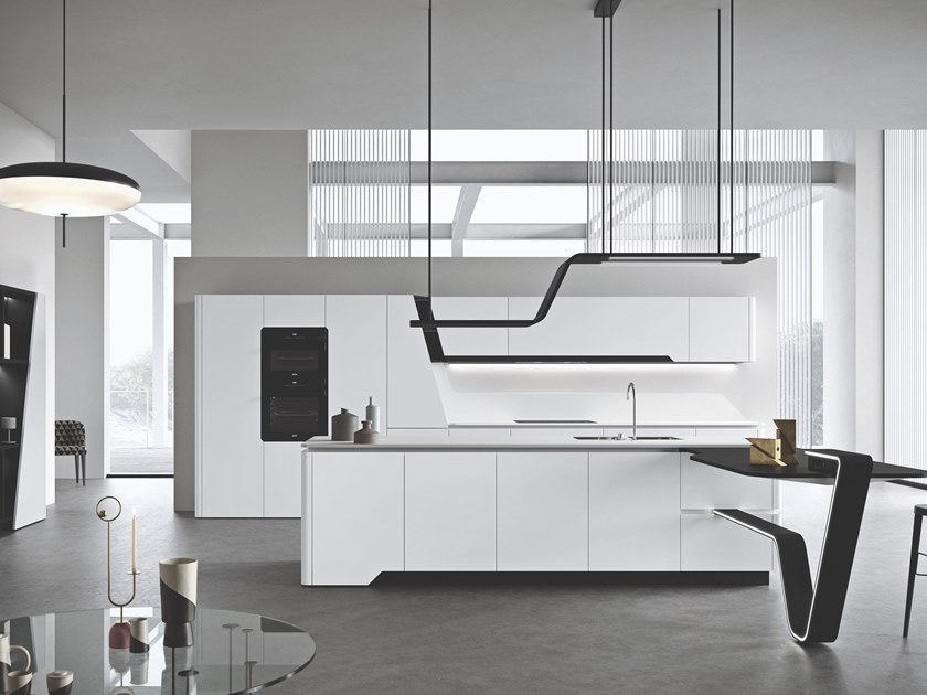 Lacquered fitted kitchen with island VISION | Lacquered kitchen by Snaidero