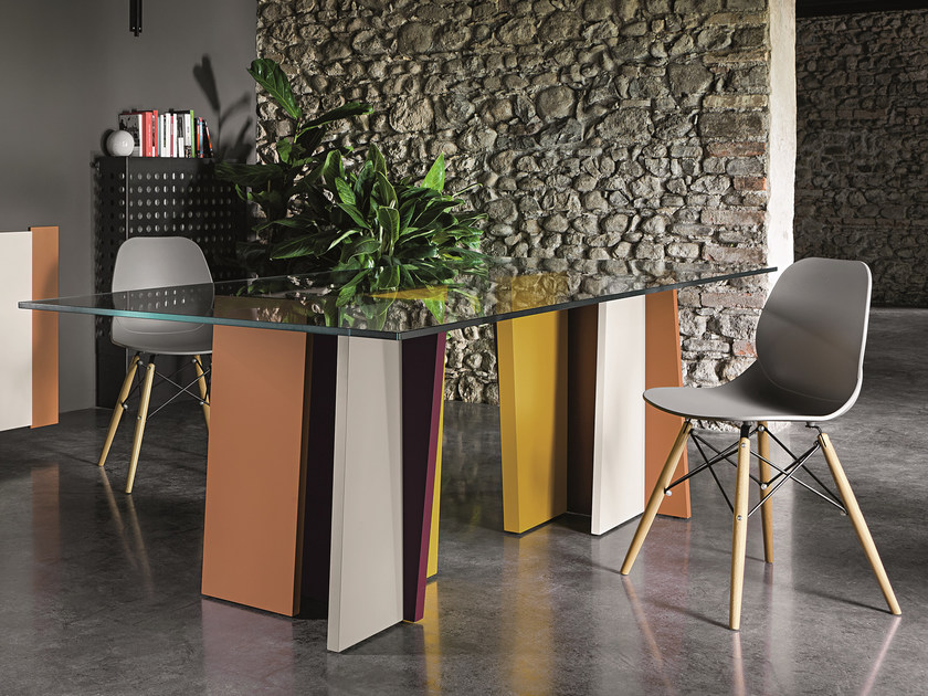 Lacquered wood and glass table STRIPE | Lacquered table by Dall'Agnese