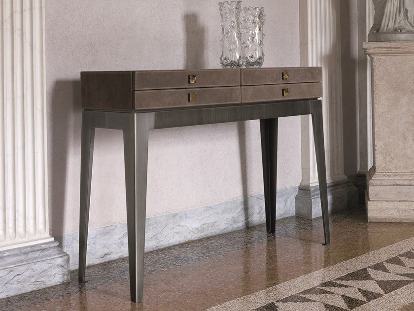 Leather console table with drawers LADY | Console table by Longhi