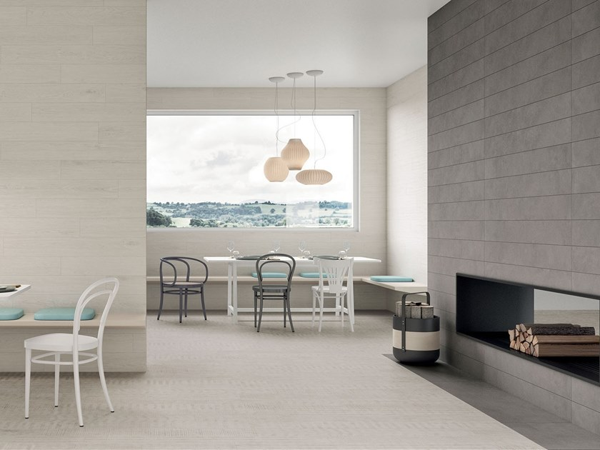 Porcelain stoneware wall/floor tiles with wood effect LAGOM COATED WHITE by Marca Corona