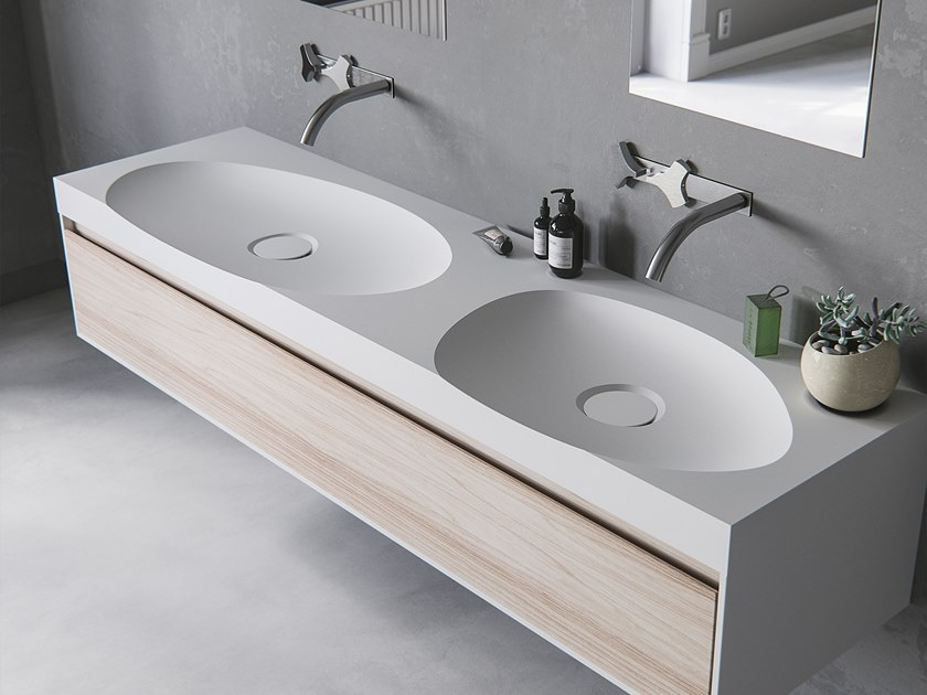 Double oval washbasin with integrated countertop LAGOON-03 DUAL by Le Projet