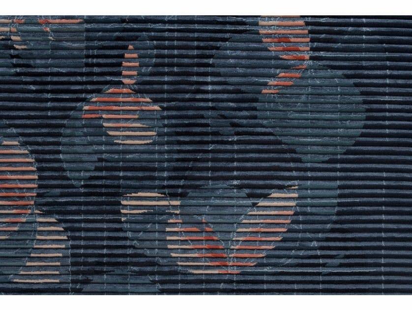 Rectangular fabric rug LAKE FLORAL BLUE by Golran