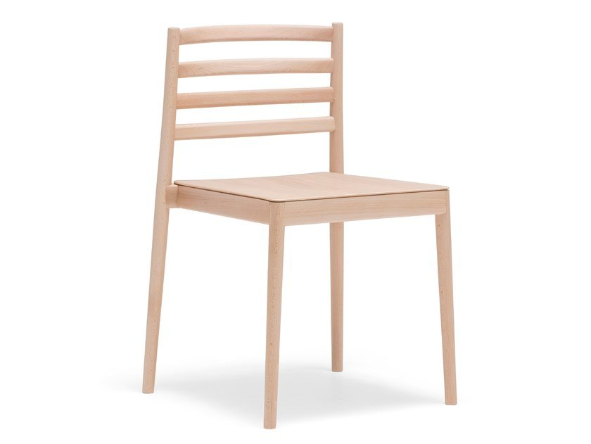 Stackable wooden chair LAKE SI0652 by Andreu World