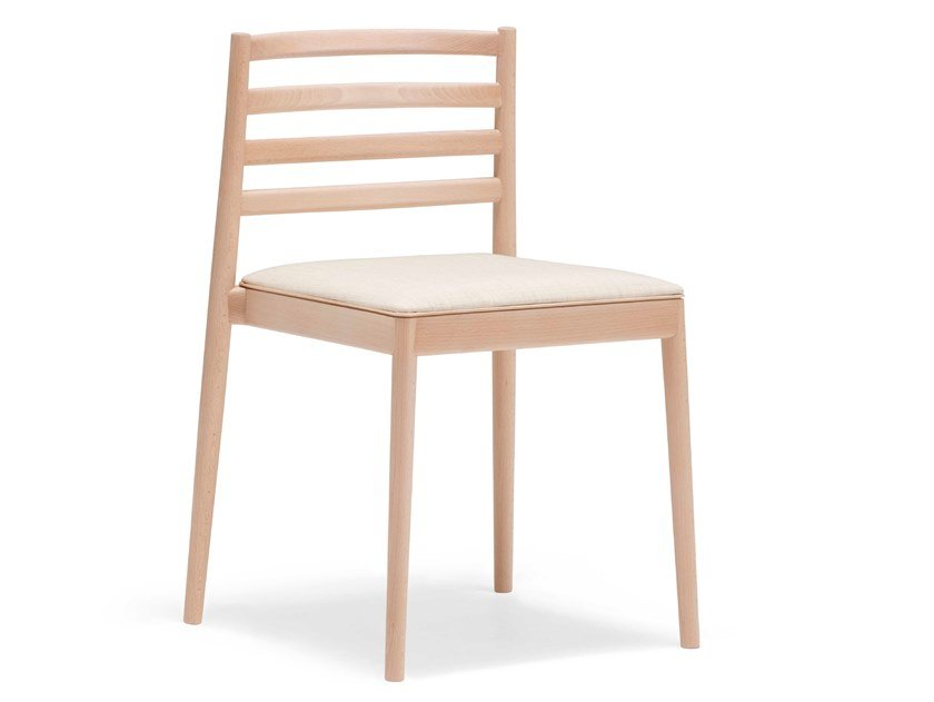 Stackable wooden chair with integrated cushion LAKE SI0654 by Andreu World