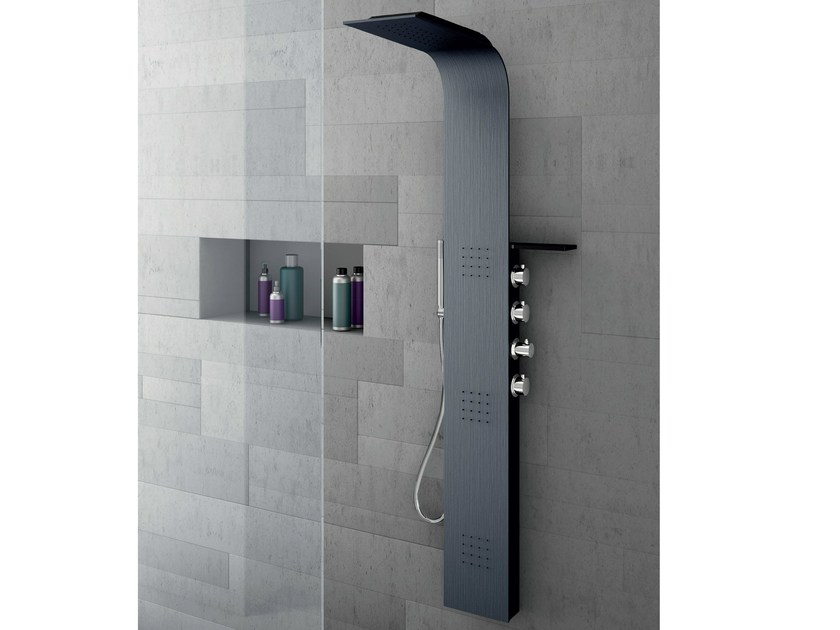 Wall-mounted thermostatic Alulife® shower panel with overhead shower LAMA Alulife® by Gruppo Geromin