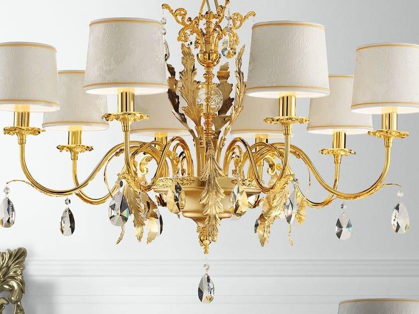 Direct light gold leaf chandelier with crystals ACANTIA | Gold leaf chandelier by Masiero