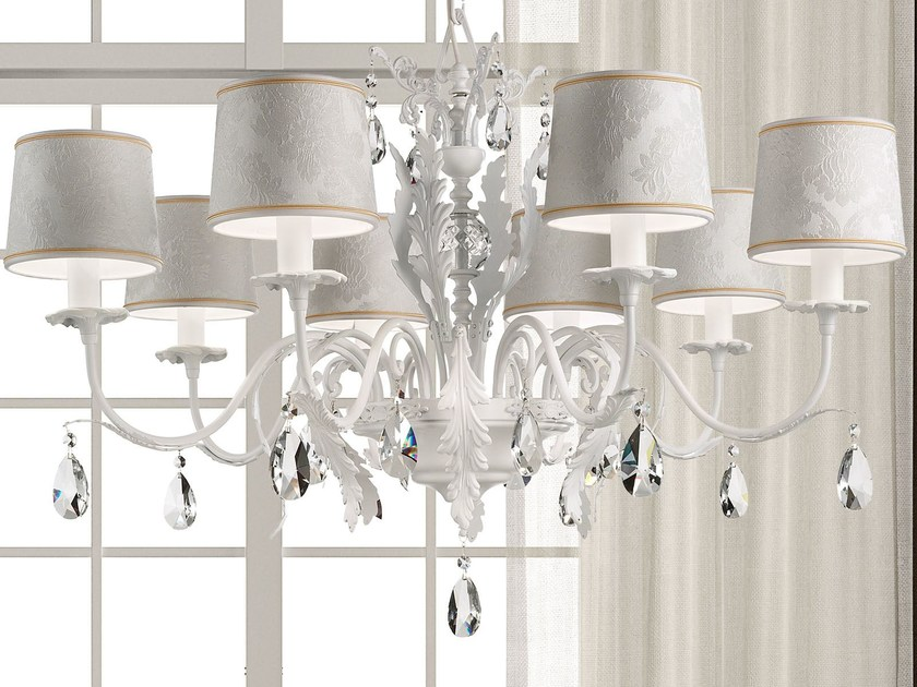 Direct light metal chandelier with crystals ACANTIA 8 by Masiero