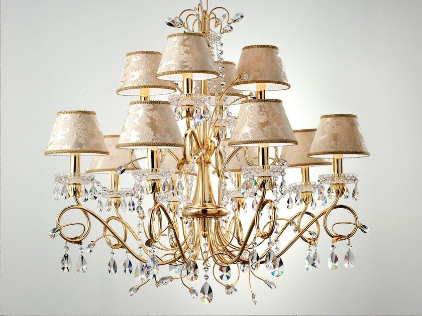 Direct light metal chandelier with crystals LUP | Chandelier by Masiero