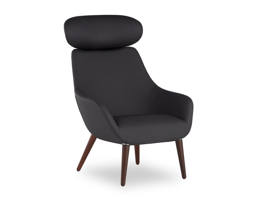 Leather armchair with headrest LAMY CONIC WOOD | Armchair with headrest by B&T Design