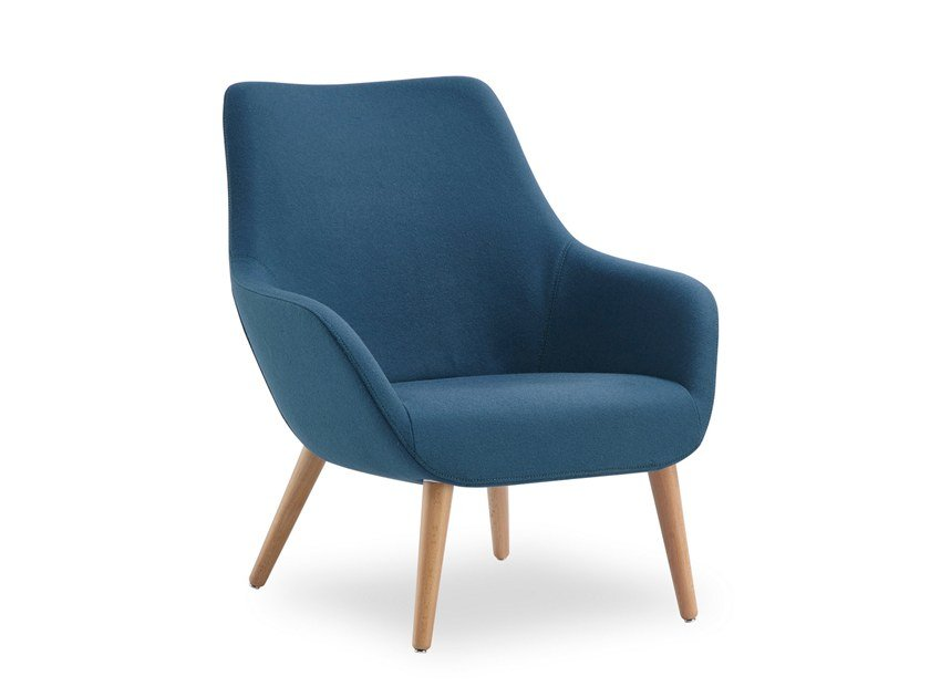 Fabric armchair with armrests LAMY CONIC WOOD | Fabric armchair by B&T Design