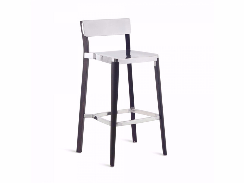 High aluminium and wood barstool LANCASTER | High stool by Emeco