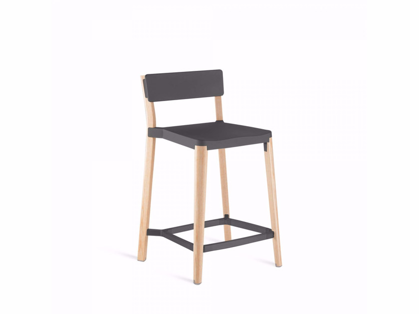 High aluminium and wood stool LANCASTER | Stool by Emeco
