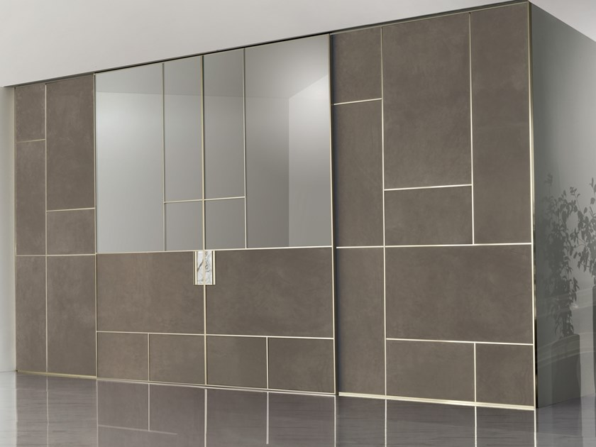 Leather and glass sliding door LAND | Sliding door by Longhi