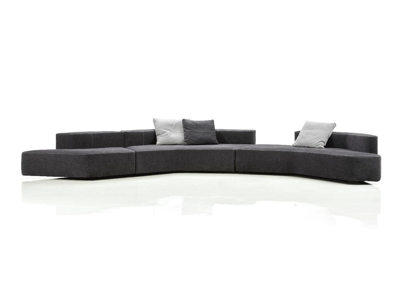 Curved modular fabric sofa LANDSLIDE by Papadatos