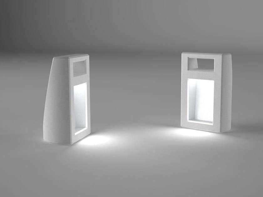 Reconstructed stone bollard light LANTERNA by Manufatti Viscio