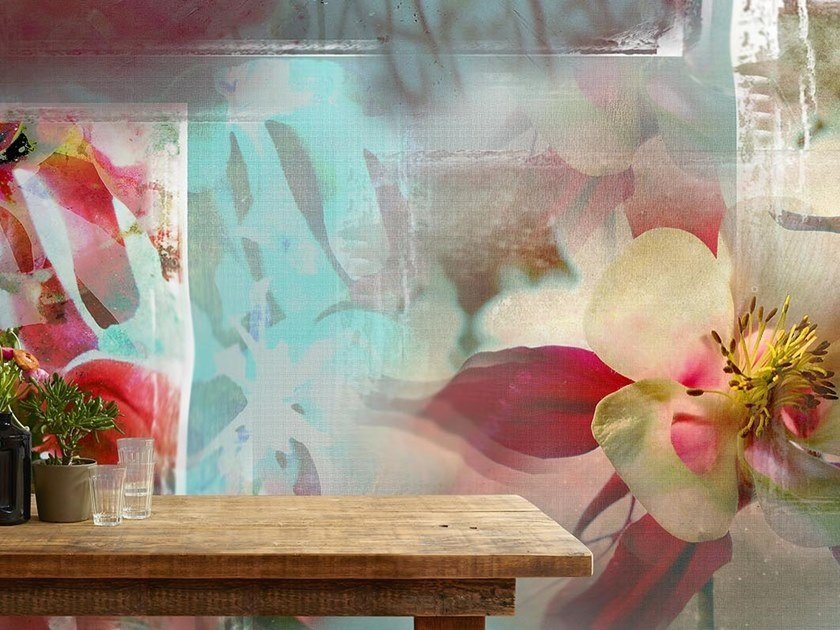 Tropical wallpaper, PVC free, eco, washable LANTERNE FIORITE by Wallpepper