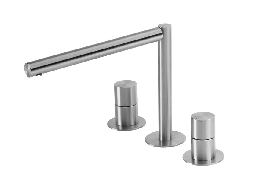 3 hole stainless steel washbasin tap LAPA T7.12.3F | Washbasin tap by Water Evolution