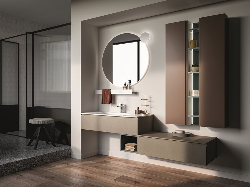 Lacquered wall-mounted vanity unit LAPIS COMP. 3 by Birex