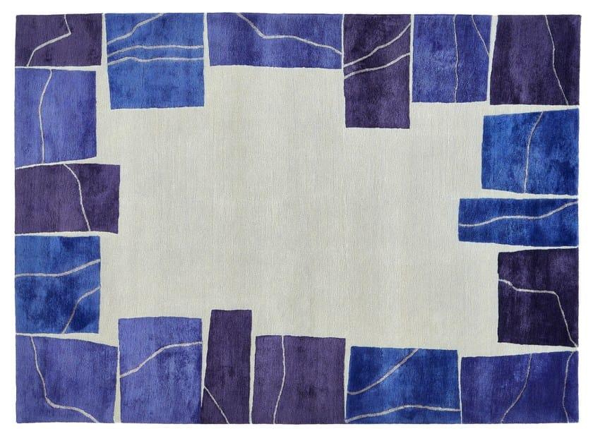 Handmade rectangular wool rug LAPIS by Deirdre Dyson