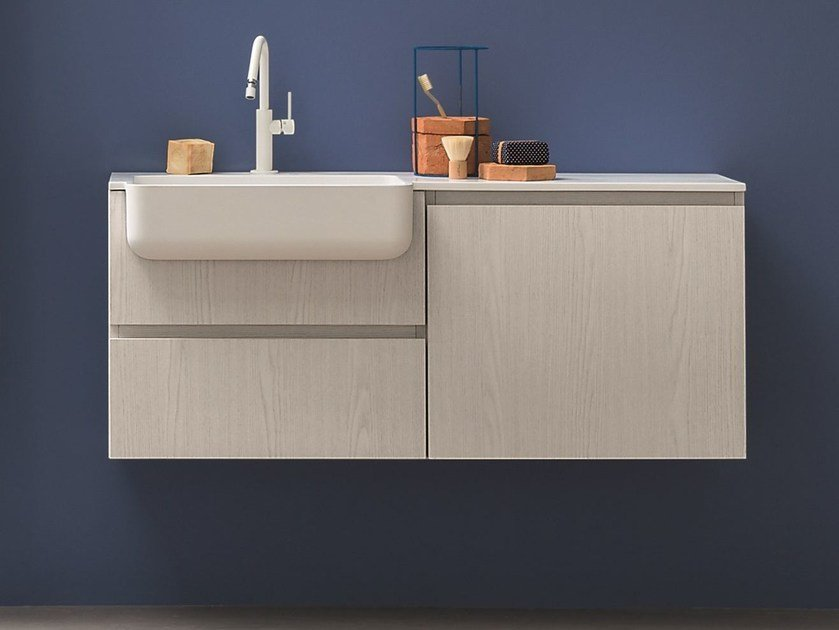 Lacquered wall-mounted vanity unit with drawers LAPIS | Lacquered vanity unit by Birex