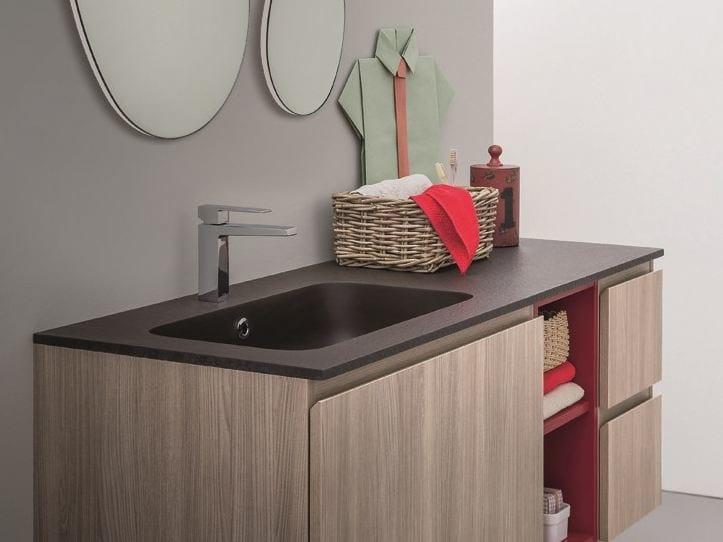 Mineralmarmo® washbasin with integrated countertop LAPIS   Washbasin with integrated countertop by Birex