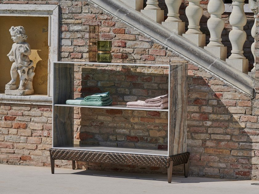 Ceramic marble-effect garden consolle LAURUS   Console table by Samuele Mazza Outdoor