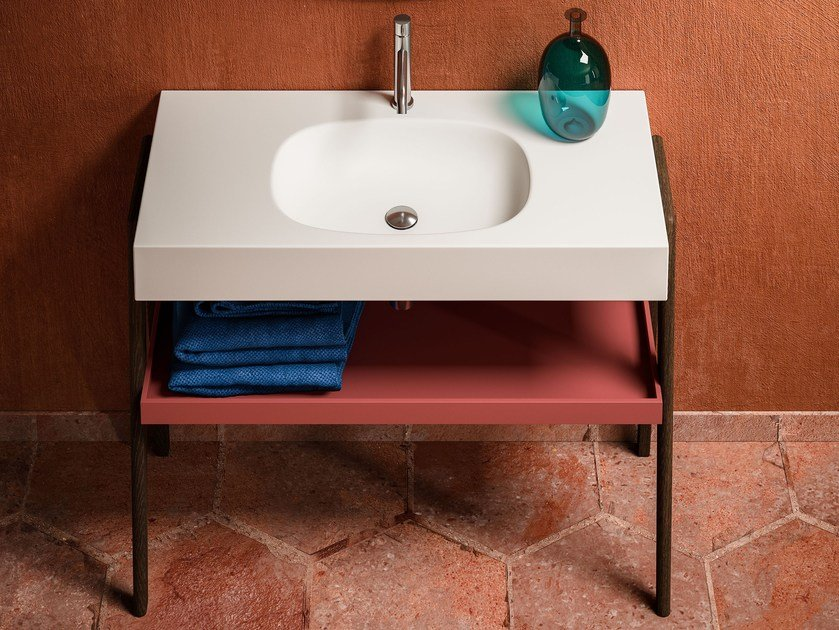 Solid Surface washbasin with towel rail BLONDECRAZY | Washbasin by Blu Bleu