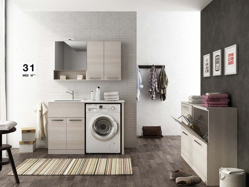 Sectional laundry room cabinet with hinged doors with sink LAUNDRY 8 by LEGNOBAGNO