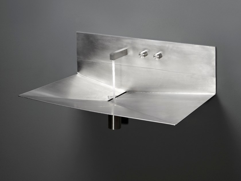 Wall-mounted stainless steel washbasin LAVANDINO by Antonio Lupi Design