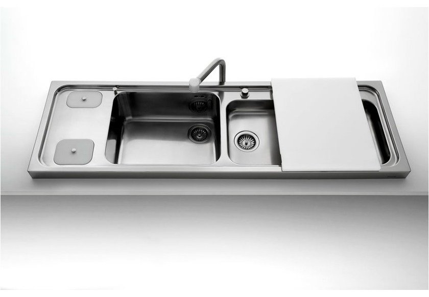 Contemporary style 2 bowl countertop jetted stainless steel sink LAVELLI APPOGGIO | Stainless steel sink by ALPES-INOX
