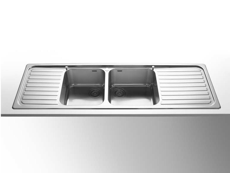 Contemporary style 2 bowl single steel sink with drainer LAVELLI INCASSO RAGGIO 60 | Stainless steel sink by ALPES-INOX