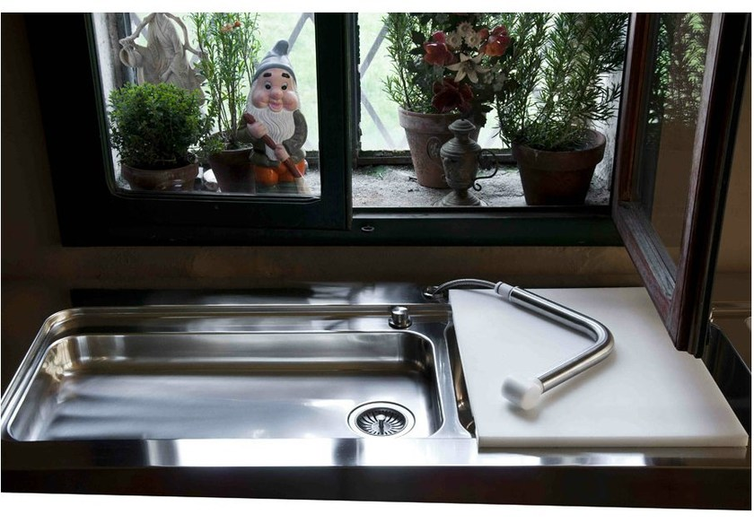 Contemporary style 2 bowl countertop stainless steel sink with drawer LAVELLO APPOGGIO SALDATO | Stainless steel sink by ALPES-INOX