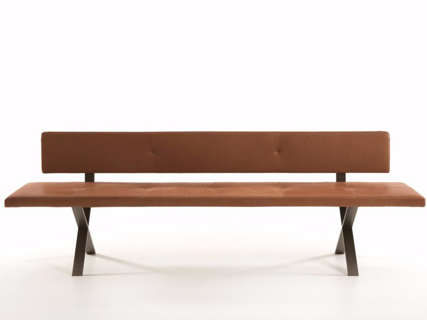 Upholstered leather bench with back LAX | Bench with back by more